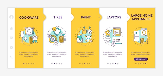 Spending more for high quality items onboarding  template. kitchenware, tires and wheels. responsive mobile website with icons. webpage walkthrough step screens. rgb color concept