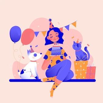 ペットと誕生日パーティーを過ごす