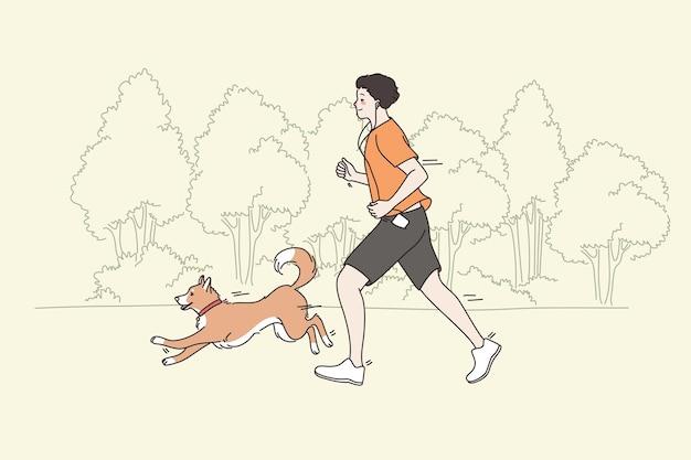 Проводить время и заниматься спортом с концепцией домашних животных. молодой улыбающийся человек работает бегом в парке со своей собакой, весело проводящей время и тренирующейся вместе, векторная иллюстрация