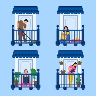 Trascorrere del tempo sul balcone in quarantena