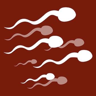 Спермотазоиды на красном фоне лабораторные медицинские исследования жизнеспособные сперматозоиды изолированы
