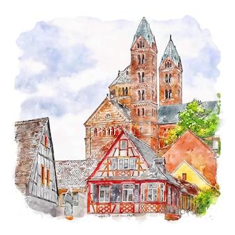 Шпейер германия акварельный эскиз рисованной иллюстрации