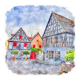 슈파이어 독일 수채화 스케치 손으로 그린 그림