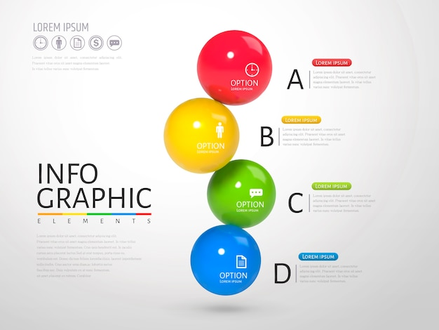 Sphere infographic, plastic texture glossy texture balls with different colors in  illustration