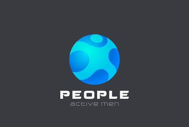 スフィアマンデジタルピープルジェネレーションロゴデザイン。 webインターネットサークルエンブレム