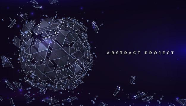 구 입자 배경입니다. 연결된 선의 추상적 기하학적 모양이 있는 미래형 배너입니다. 벡터 파괴 지구 또는 분자 현실적인 3d 구, 유리의 기하학적 파편