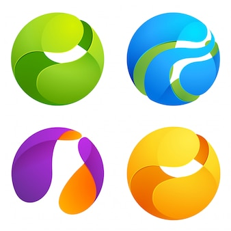 Sphere trendy, vibrant and colorful set.