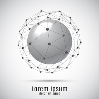 Sphere with connection lines and dots. 3d geometric  background for business or science presentation.