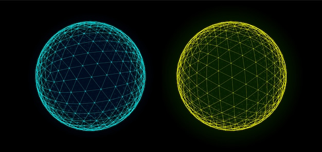 Spheres of dots and lines background. hud element. sci-fi planet earth template for heads up display. geometry math  illustration. dots circles with depth of field.