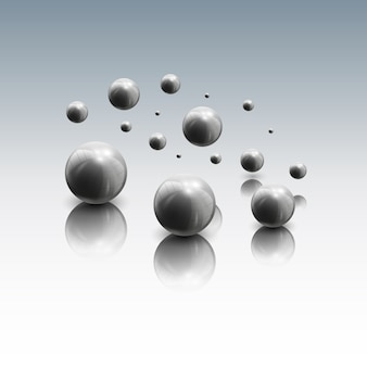 Spheres in motion on gray background