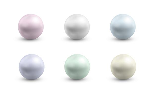 다양한 색상의 구형 진주 라운드 컬러 진주층 귀중한 보석 금속 공 세트