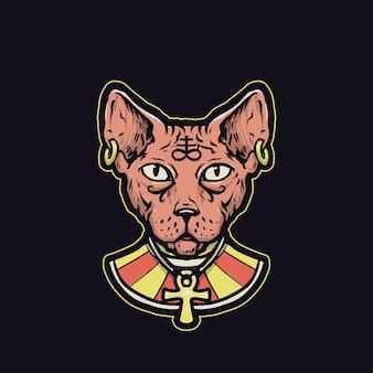 古代エジプト風のスフィンクス猫
