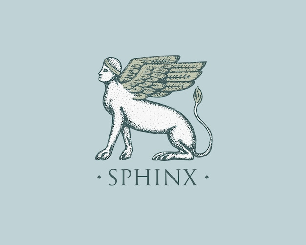 Sphinx logo ancient greece, antique symbol vintage, engraved hand drawn in sketch or wood cut style, old looking retro