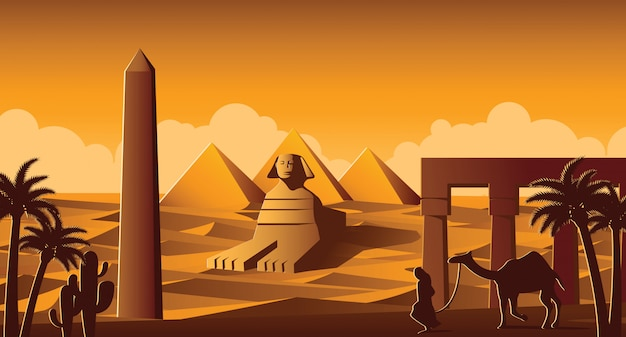 Sphinx and pyramid famous landmark of egypt