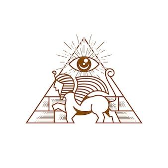 Sphinx pyramid guardian illustration