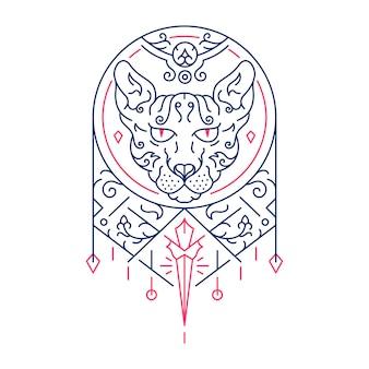 スフィンクス猫装飾飾りモノライン
