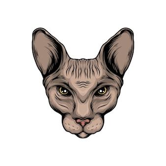 スフィンクス猫の頭のベクトル図