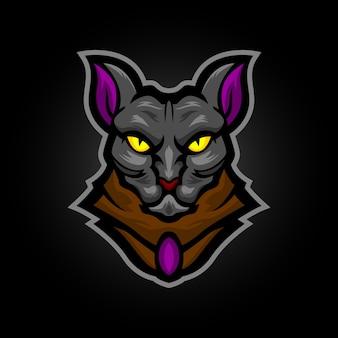 Sphynx cat mascot logo