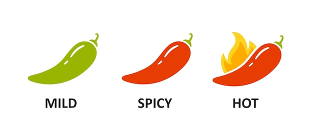 매운맛 수준 표시 - 순한맛, 매운맛, 매운맛. 녹색 및 빨강 칠리 페 퍼입니다. 화재와 후추의 상징입니다. 칠리 레벨 아이콘을 설정합니다. 벡터 일러스트 레이 션 흰색 배경에 고립