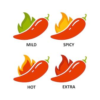 매운맛 수준 표시 - 순한맛, 매운맛, 매운맛, 추가. 녹색 및 빨강 칠리 페 퍼입니다. 화재와 후추의 상징입니다. 칠리 레벨 아이콘을 설정합니다. 벡터 일러스트 레이 션 흰색 배경에 고립