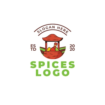 Spice logo design concept. vector illustration of food. wooden bowl with green, red and yellow spices.