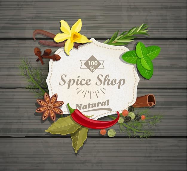 Spice shop paper vintage frame.