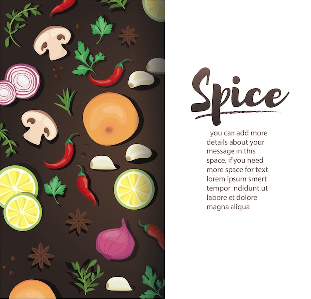 Spice and vegetable foods background template