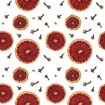 Spiced wine traced watercolor seamless pattern on a white