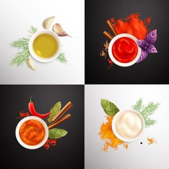 Набор специй, состоящий из чашек с горчичным кетчупом, майонезом, украшенных травами, реалистично