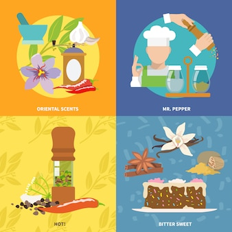 Spices elements composition flat