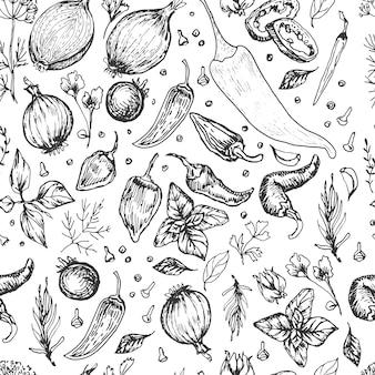 手でベクトルグラフィックイラストを調理するスパイスニンニク野菜ハーブ。刻印プリントテキスタイル、メニューレシピ調理食品タマネギバジルキッチンセットパターンシームレス
