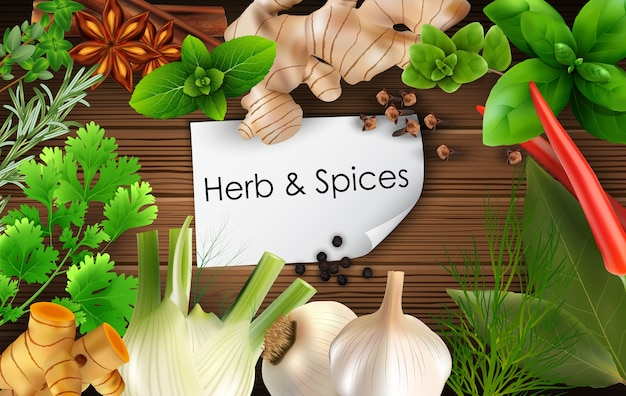 Spices and herbs on brown wooden background