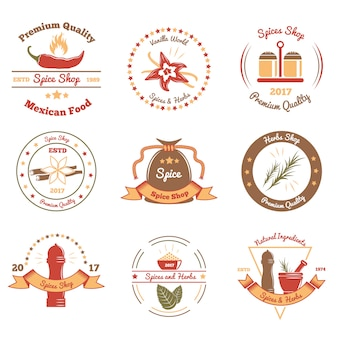 Spices and herbs colored emblems