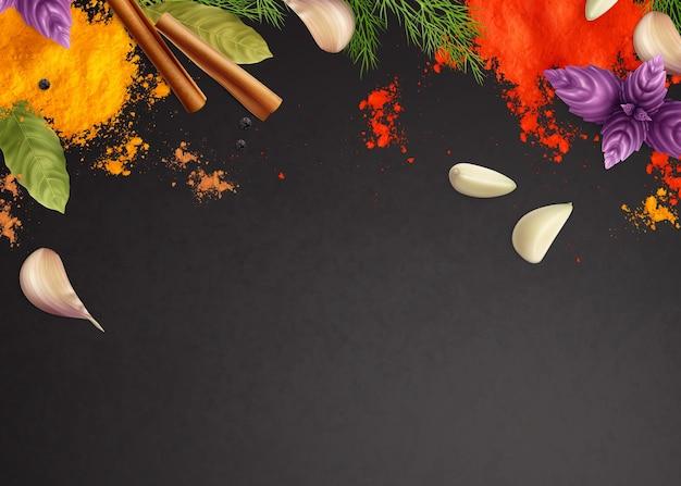 Sfondo cornice realistica di spezie ed erbe aromatiche con menta, aglio e cannella