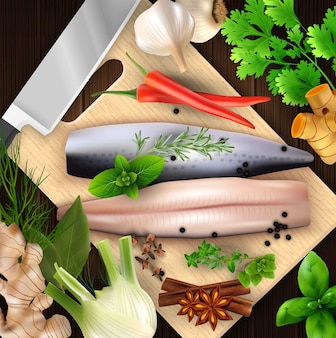 Spices and herbs and seafood with cutting board and knife