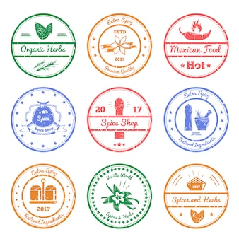 Spices and herbs stamps