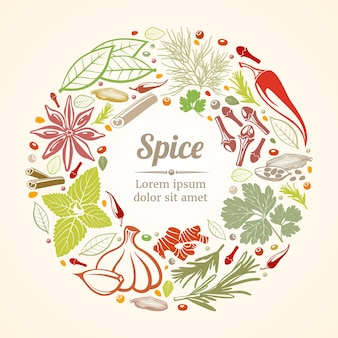 Spices and herbs template in circle composition