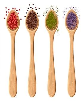 Специи в ложках на белом фотореалистичном элементе иллюстрации в кулинарии, кулинарном ингредиенте, оформлении упаковки на странице веб-сайта и элементе дизайна мобильного приложения.
