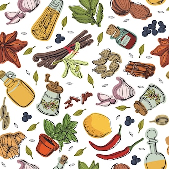 Spices kitchen pattern Free Vector