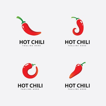 Spicy chili logo icon vector  red pepper logo template