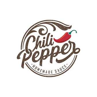 Spicy chili pepper vintage logo