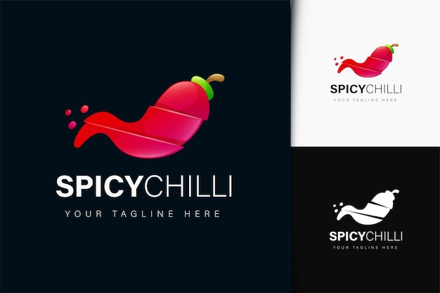 Spicy chilli logo design with gradient