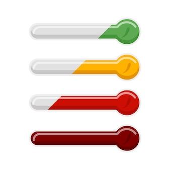 Острый перец чили инфографики измерения, изолированные на белом фоне. символ с индикатором для ресторана меню еды в плоском стиле. дизайн векторной иллюстрации.