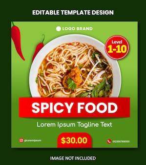 Spicy food poster social media template