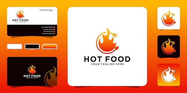 Spicy hot food logo design and business card