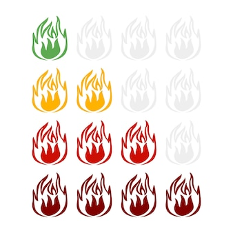 Spicy hot indicator on the rise isolated on white background. sticker different color fire for menu restaurant in flat style.