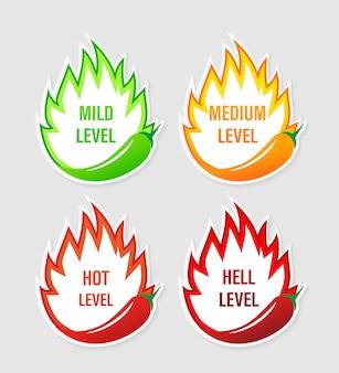 Spicy level sticker on white background.  illustration . burning hot.