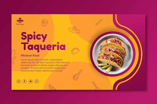 Spicy mexican food banner template