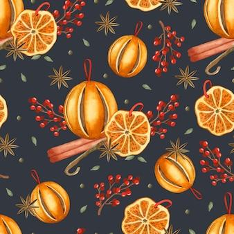 계피 아니스 별과 열매 수채화 크리스마스 원활한 패턴 매운 오렌지