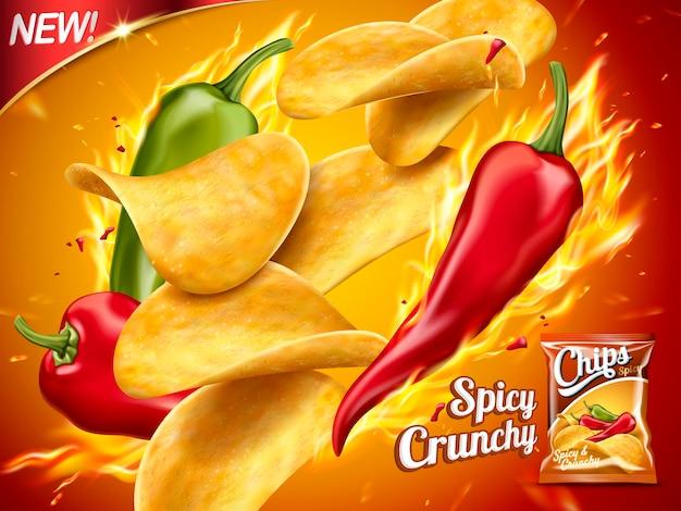 スパイシーなポテトチップスの広告イラスト